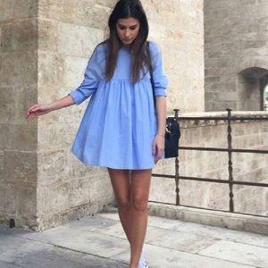 Zara Blue Longsleeve Babydoll Dress